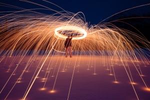 spinning burning steel wool