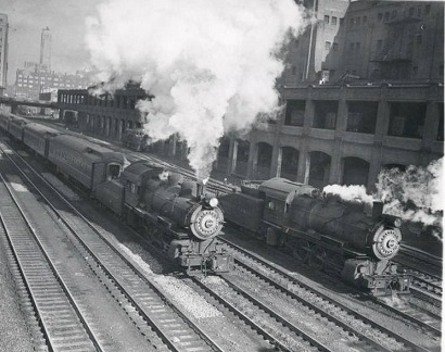 photo-chicago-train-two-steam-engines-running-on-tracks-1946
