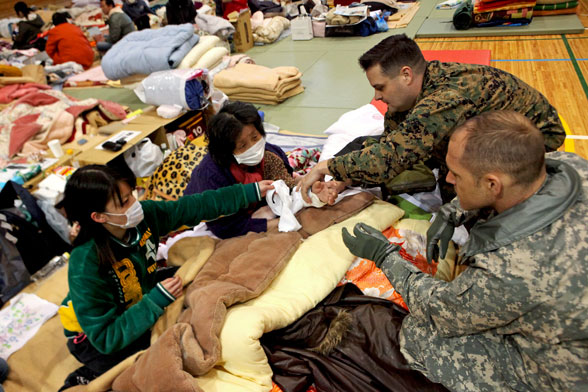 japan tsunami victim aided by US Marines